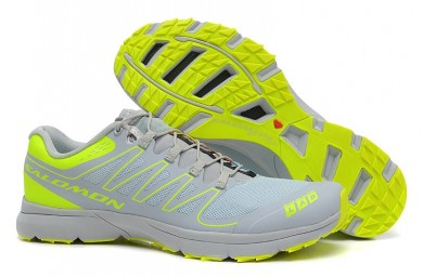 Zapatillas Salomon S-Lab Sense 2 Trail Ultra Ligeroweight Ligero Gris Fluorescent Amarillo Verde Hombre